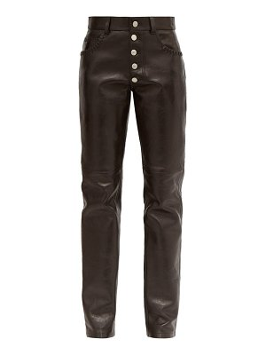 MARTINE ROSE braid-pocket leather straight-leg trousers