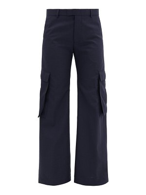 MARTINE ROSE cargo-pocket checked wool-crepe trousers