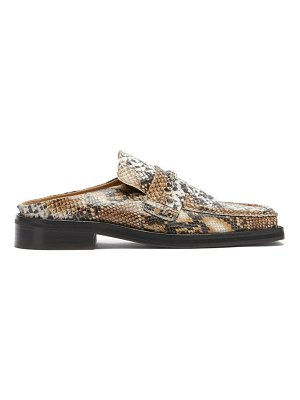 MARTINE ROSE curb-chain square-toe snake-effect leather loafers