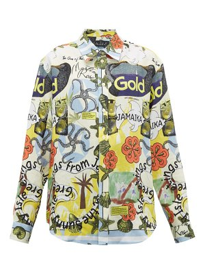 MARTINE ROSE jamaica-print linen shirt