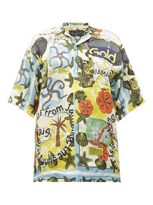 MARTINE ROSE jamaika-print twill shirt