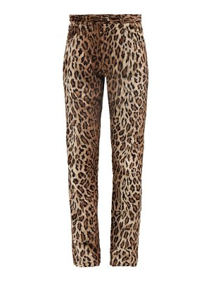 MARTINE ROSE leopard-print faux-fur trousers