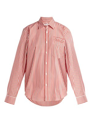 MARTINE ROSE logo embroidered striped cotton shirt