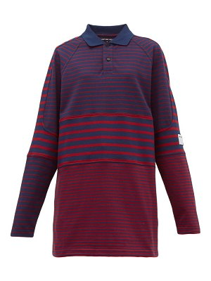 MARTINE ROSE oversized striped cotton piqué polo shirt