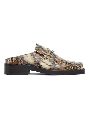 MARTINE ROSE ssense exclusive brown snake slip-on loafers