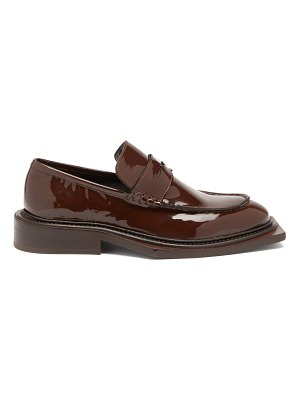 MARTINE ROSE volcano patent-leather penny loafers