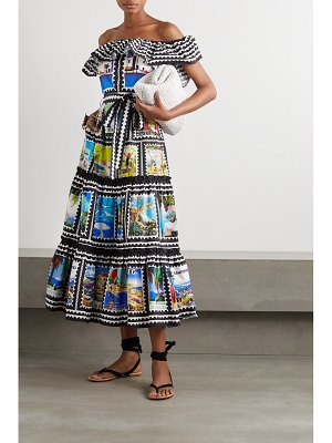 Mary Katrantzou MARY-MARE cannes off-the-shoulder ruffled printed cotton-blend midi dress