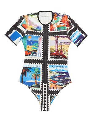 Mary Mare lago di garda zipped postage stamp-print swimsuit