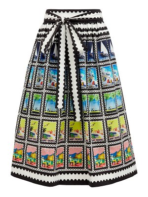 Mary Mare paloma postage stamp-print cotton-blend midi skirt