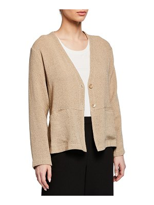 Masai Jaca Button-Front Long-Sleeve Boucle Cardigan
