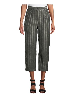 Masai Paolana Cropped Straight-Leg Linen Culotte Pants w/ Vertical Stripes