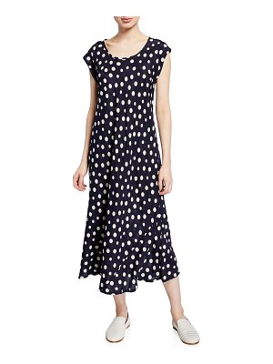 Masai Unni Polka-Dot Scoop-Neck Cap-Sleeve Dress