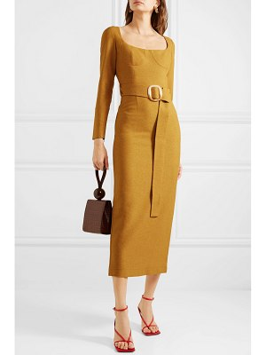 MATERIEL belted woven midi dress