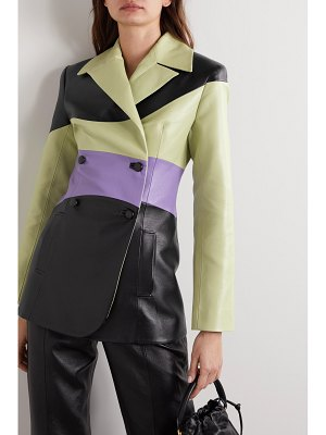 MATERIEL color-block double-breasted faux leather blazer