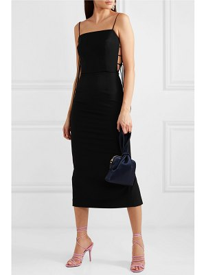 MATERIEL lace-up cady midi dress