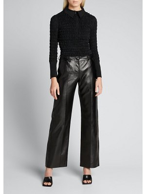 MATERIEL Ruched Long-Sleeve Collared Blouse