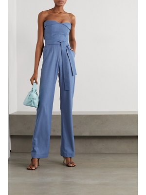 MATERIEL strapless belted woven jumpsuit