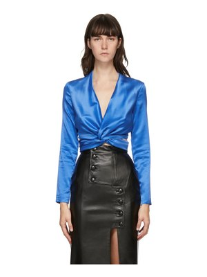 Materiel Tbilisi blue wrap around blouse