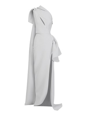 Maticevski butterfly one-shoulder gathered cady gown