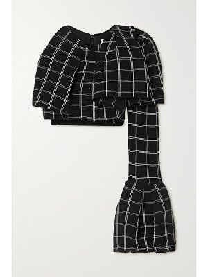 Maticevski emblematic one-sleeve cropped checked plissé-crepe and cady top
