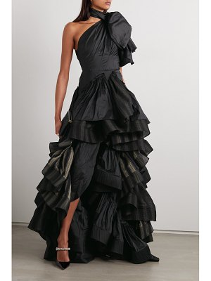 Maticevski professed one-shoulder ruffled silk-satin and striped cotton-blend gown