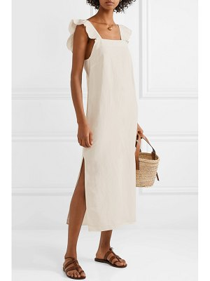 MATIN ruffled silk and linen-blend midi dress