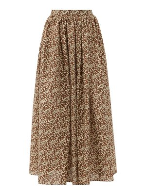 MATTEAU gathered floral-print cotton maxi skirt