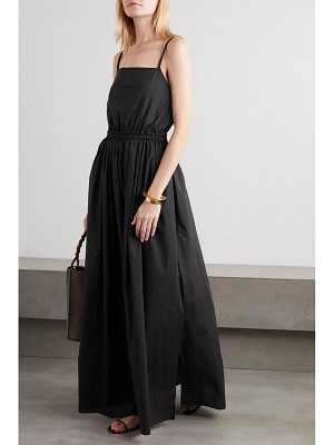 MATTEAU net sustain gathered cotton-poplin maxi dress