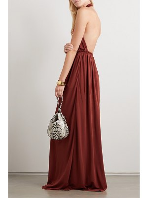 MATTEAU net sustain gathered jersey halterneck maxi dress