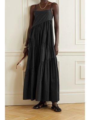 MATTEAU net sustain open-back tiered cotton and silk-blend voile maxi dress