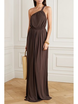 MATTEAU one-shoulder gathered jersey maxi dress