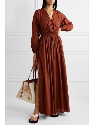 MATTEAU open-back gathered cotton-poplin maxi dress