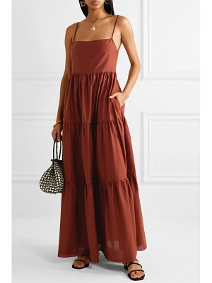 MATTEAU open-back tiered cotton-poplin maxi dress