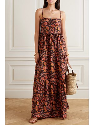 MATTEAU open-back tiered floral-print cotton-poplin maxi dress