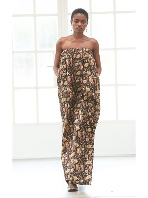 MATTEAU strapless floral-print cotton maxi dress