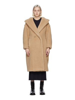 Max Mara beige camel and silk teddy coat