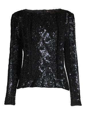 Max Mara cable knit sequin boatneck top