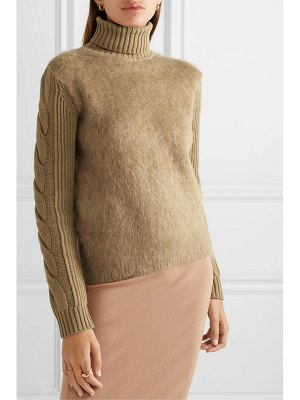Max Mara formia paneled wool-blend and knitted turtleneck sweater