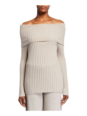 Max Mara Leisure Ribbed Off-the-Shoulder Wool Sweater