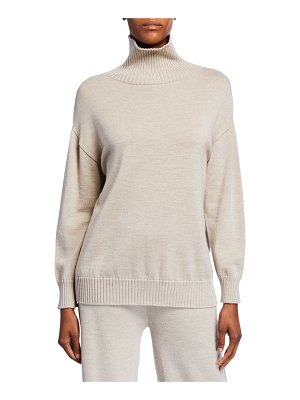Max Mara Leisure Ribbed Trim Wool Turtleneck Sweater