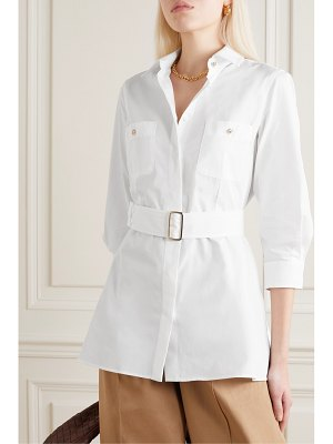 Max Mara marche belted pleated cotton-poplin shirt