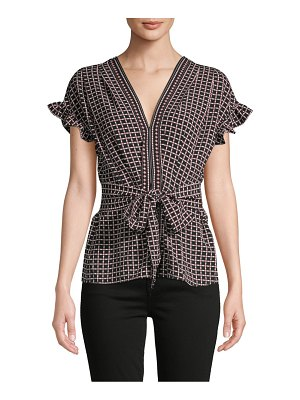 Max Studio Printed Self-Tie Ruffled Top