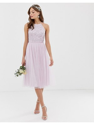 Maya bridesmaid halter neck midi tulle dress with tonal delicate sequins in soft lilac-purple