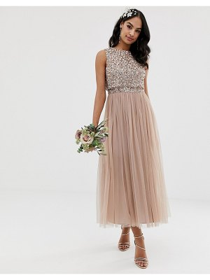 Maya bridesmaid sleeveless midaxi tulle dress with tonal delicate sequin overlay in taupe blush-brown