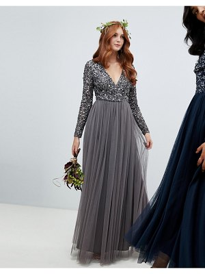 Maya long sleeve wrap front maxi dress with delicate sequin and tulle skirt