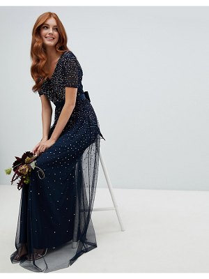 Maya v neck maxi tulle dress with contrast tonal delicate sequins