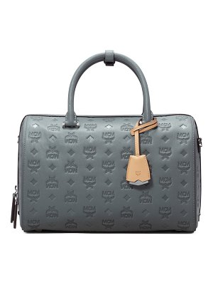 MCM essential boston monogram leather satchel