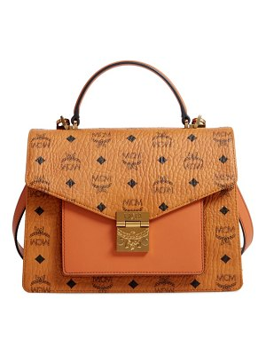 MCM medium patricia visetos coated canvas satchel