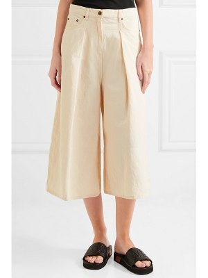 McQ by Alexander McQueen atami pleated cropped high-rise wide-leg jeans