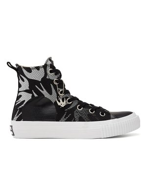McQ by Alexander McQueen black and white swallow plimsoll high-top sneakers